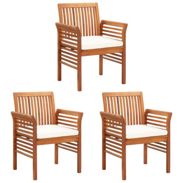 Garden Dining Chairs with Cushions 3 pcs Solid Acacia Wood 1