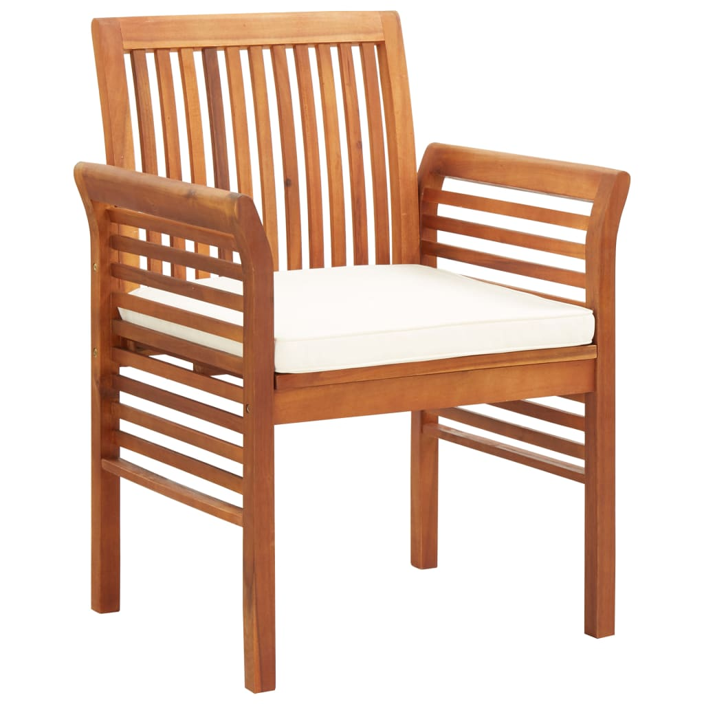 Garden Dining Chairs with Cushions 3 pcs Solid Acacia Wood 2
