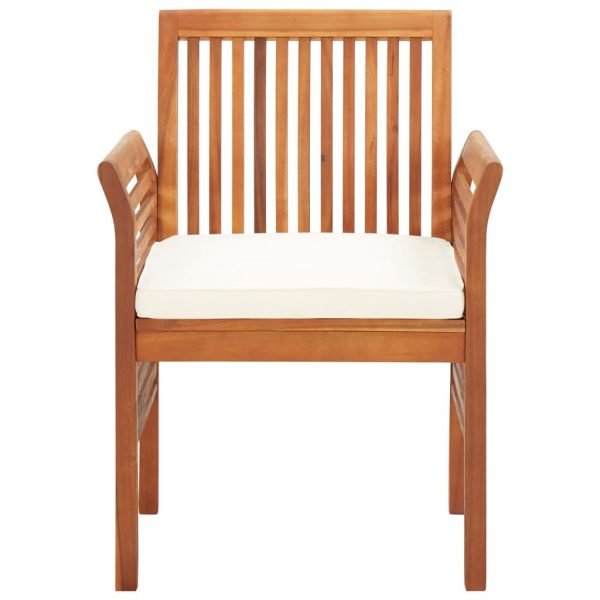 Garden Dining Chairs with Cushions 3 pcs Solid Acacia Wood 3
