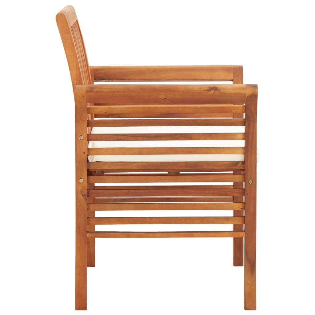Garden Dining Chairs with Cushions 3 pcs Solid Acacia Wood 4