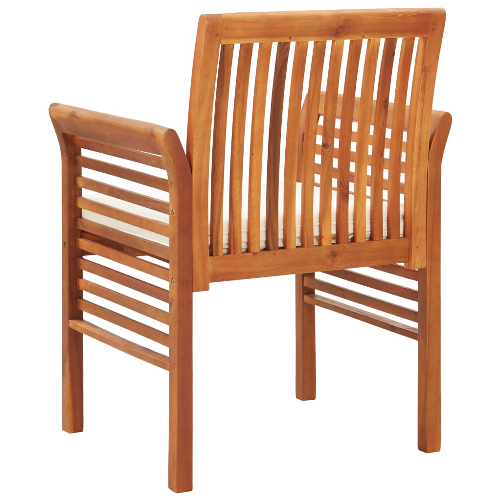 Garden Dining Chairs with Cushions 3 pcs Solid Acacia Wood 5