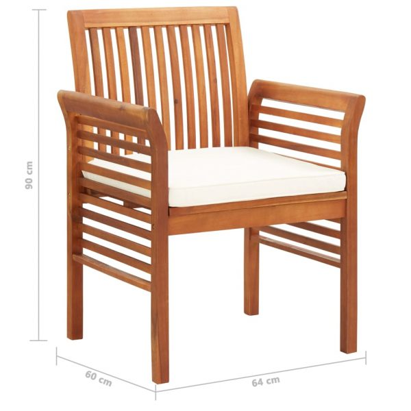 Garden Dining Chairs with Cushions 3 pcs Solid Acacia Wood 8
