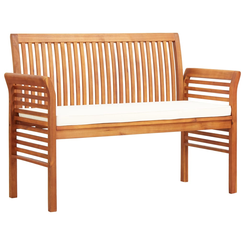2-Seater Garden Bench with Cushion 120 cm Solid Acacia Wood