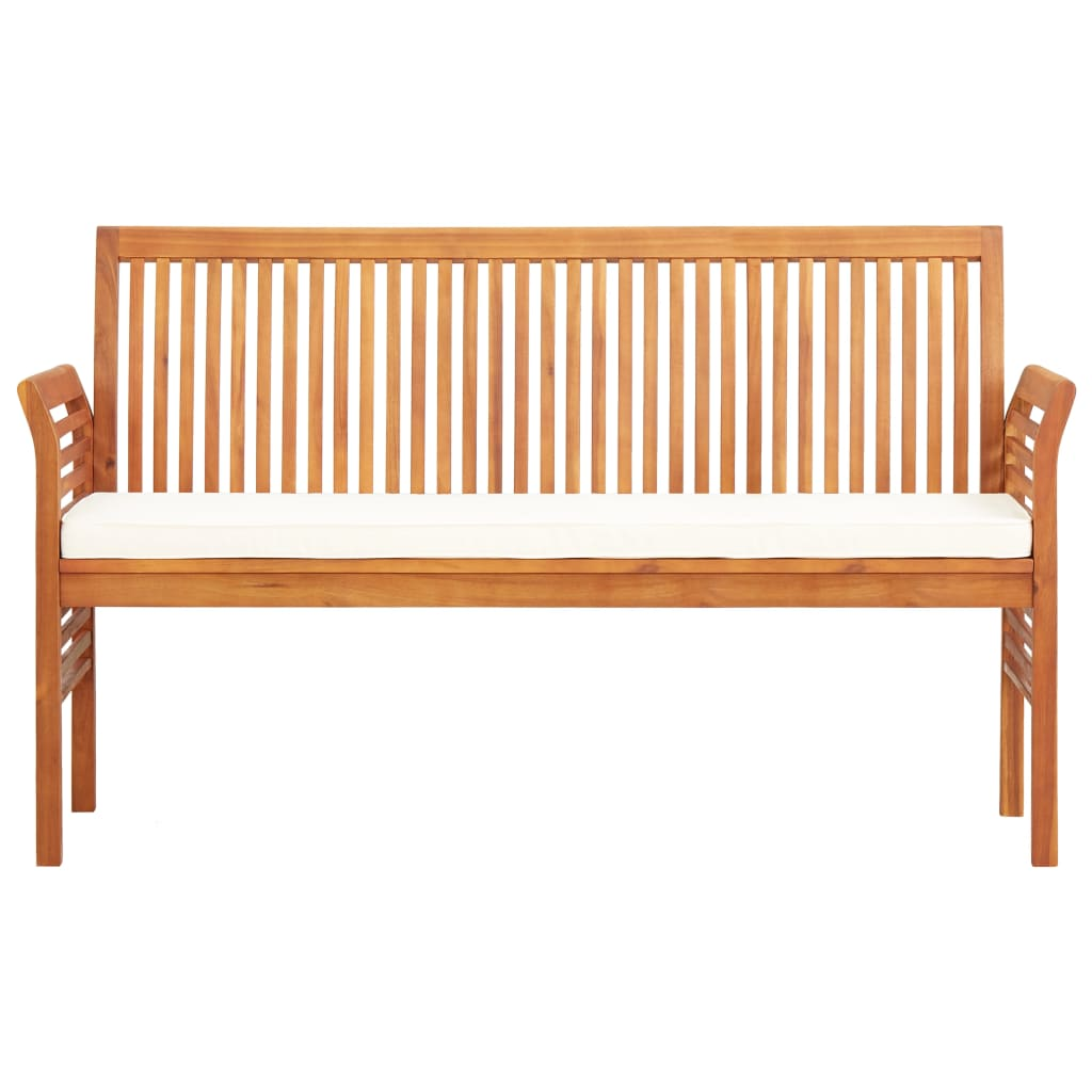 3-Seater Garden Bench with Cushion 150 cm Solid Acacia Wood 2