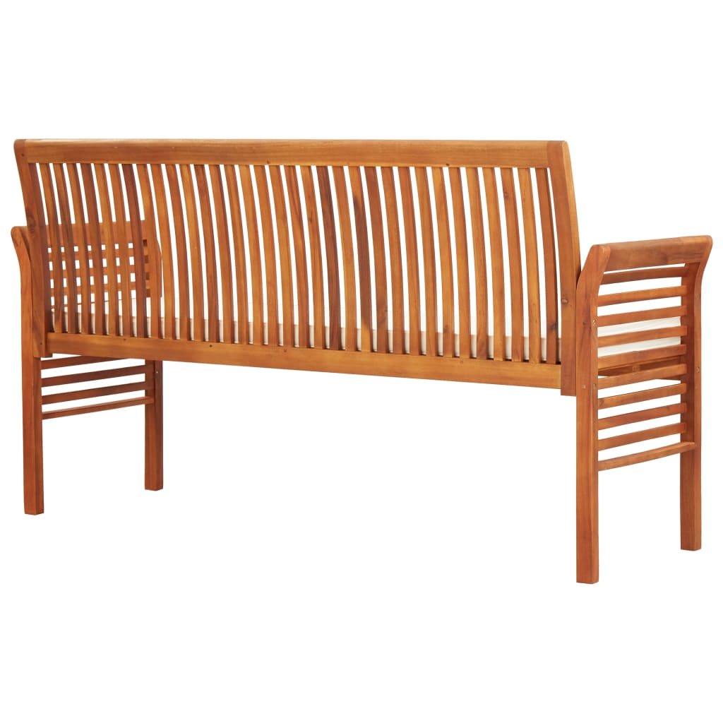 3-Seater Garden Bench with Cushion 150 cm Solid Acacia Wood 4