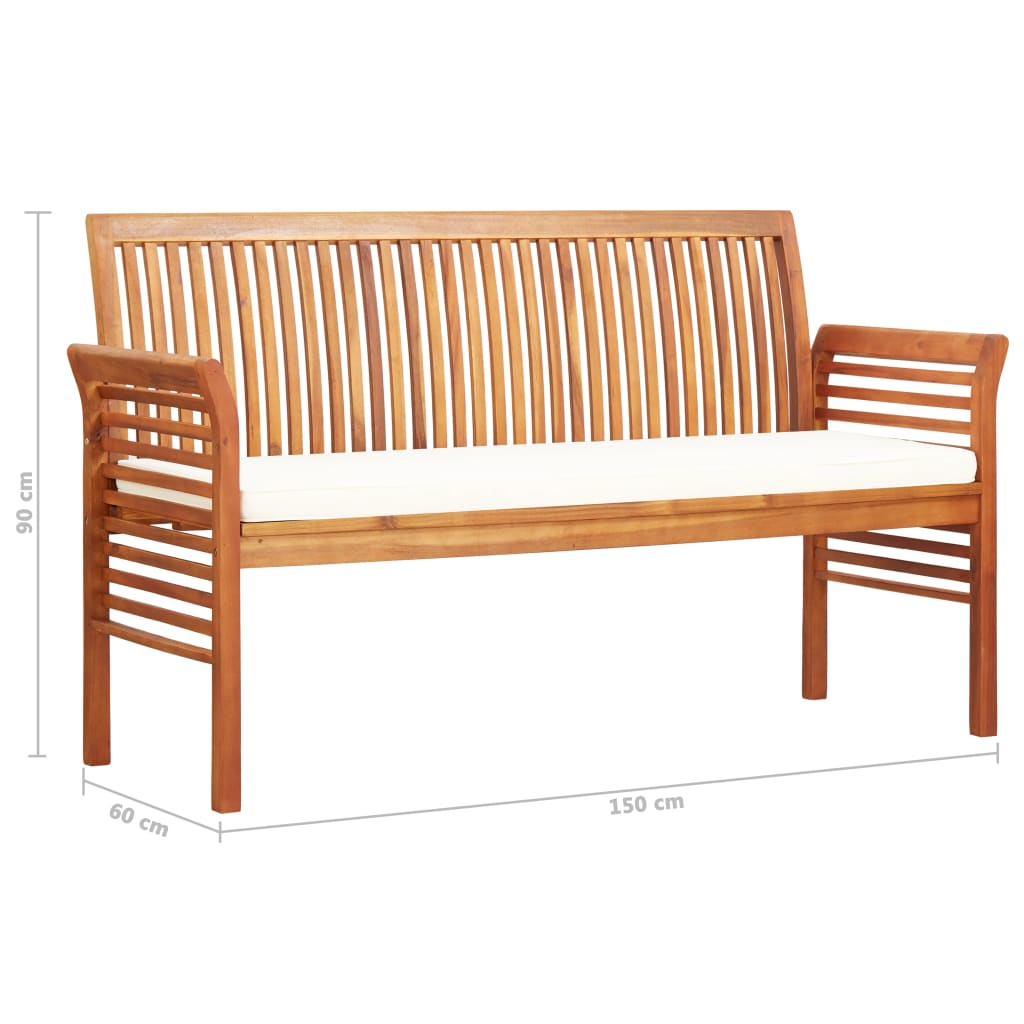 3-Seater Garden Bench with Cushion 150 cm Solid Acacia Wood 7