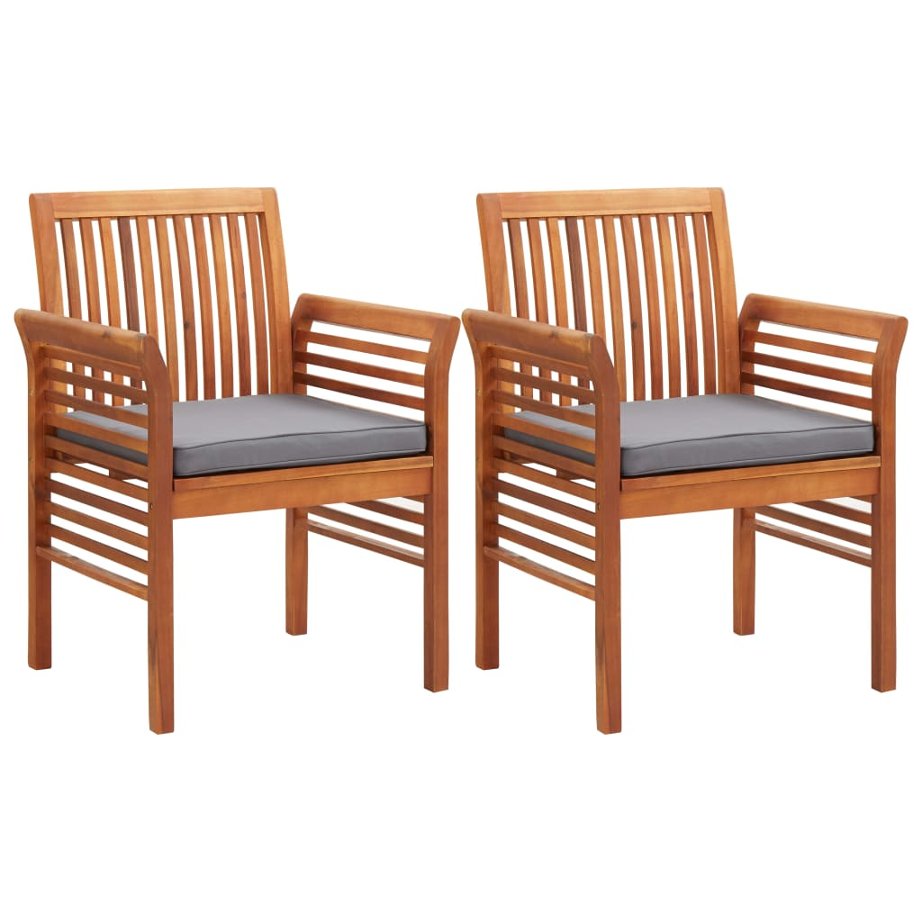 Garden Dining Chairs with Cushions 2 pcs Solid Acacia Wood 1