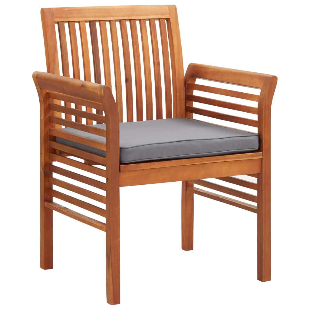 Garden Dining Chairs with Cushions 2 pcs Solid Acacia Wood 2