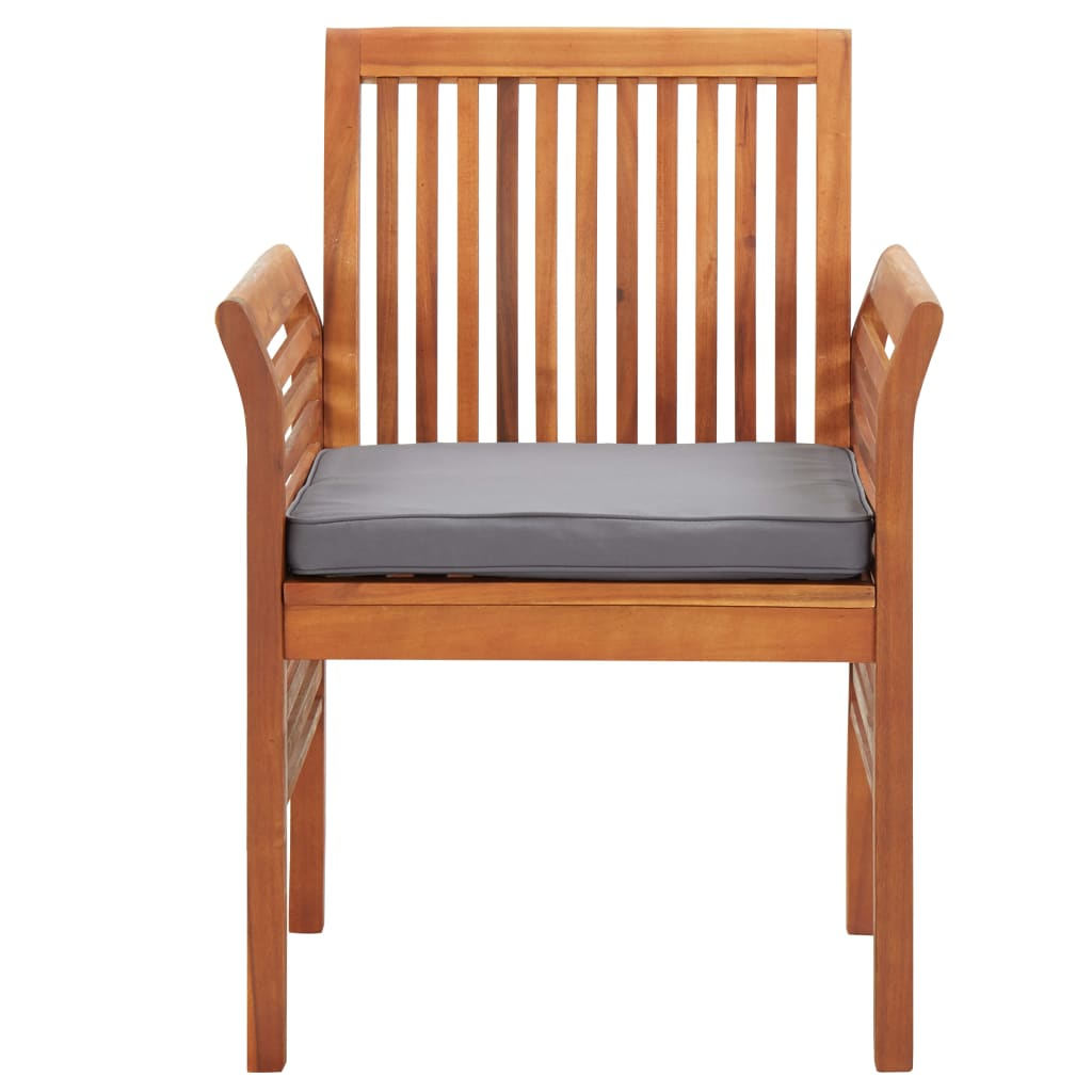 Garden Dining Chairs with Cushions 2 pcs Solid Acacia Wood 3
