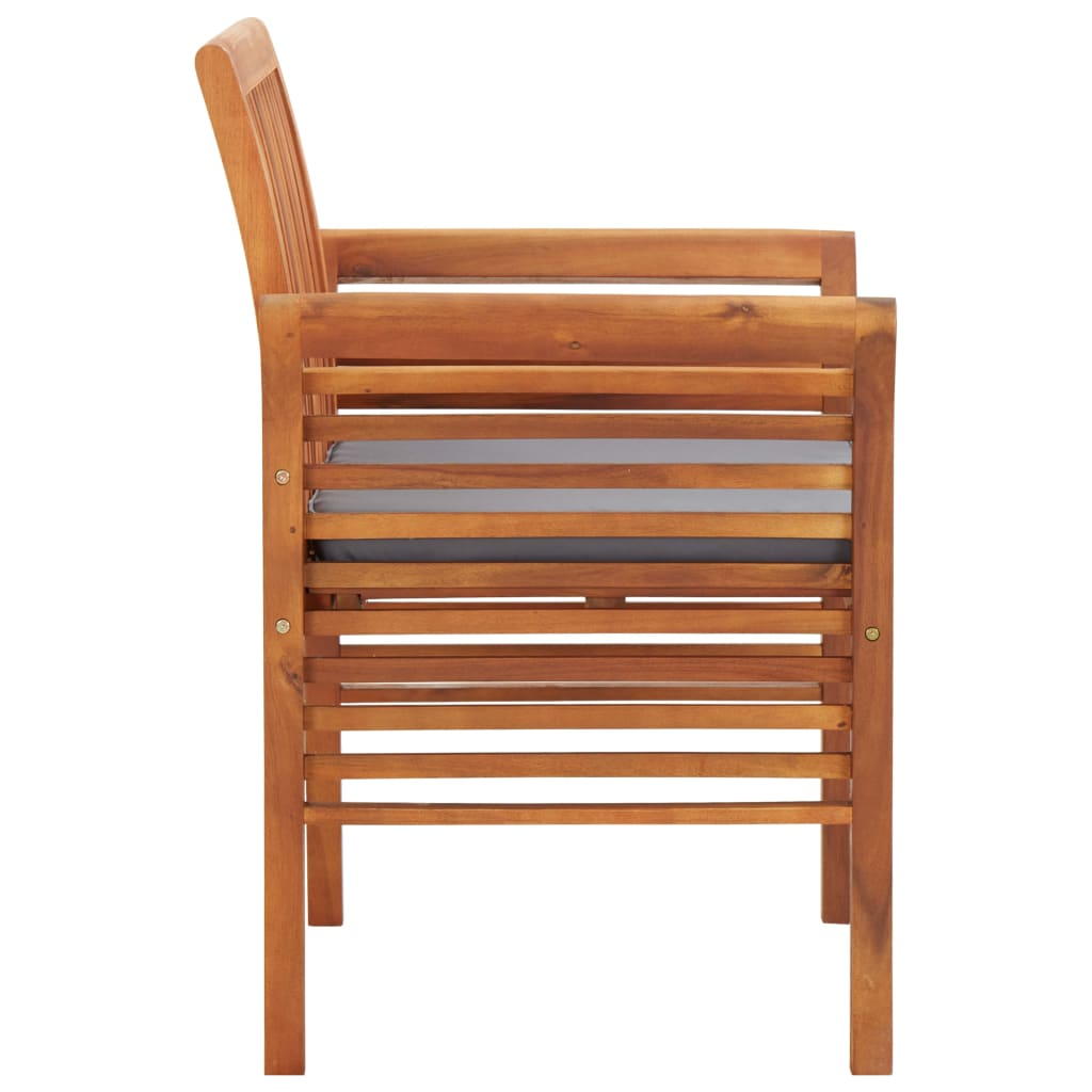 Garden Dining Chairs with Cushions 2 pcs Solid Acacia Wood 4