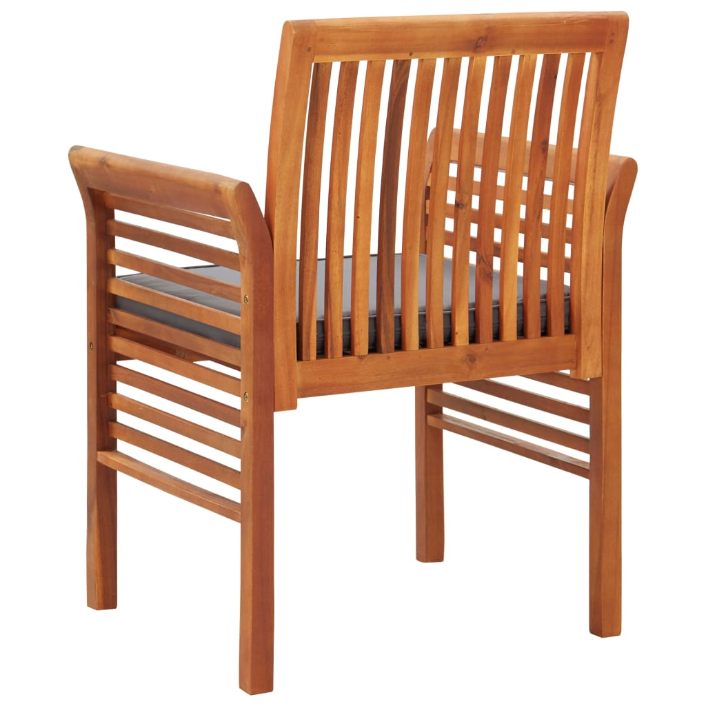 Garden Dining Chairs with Cushions 2 pcs Solid Acacia Wood 5