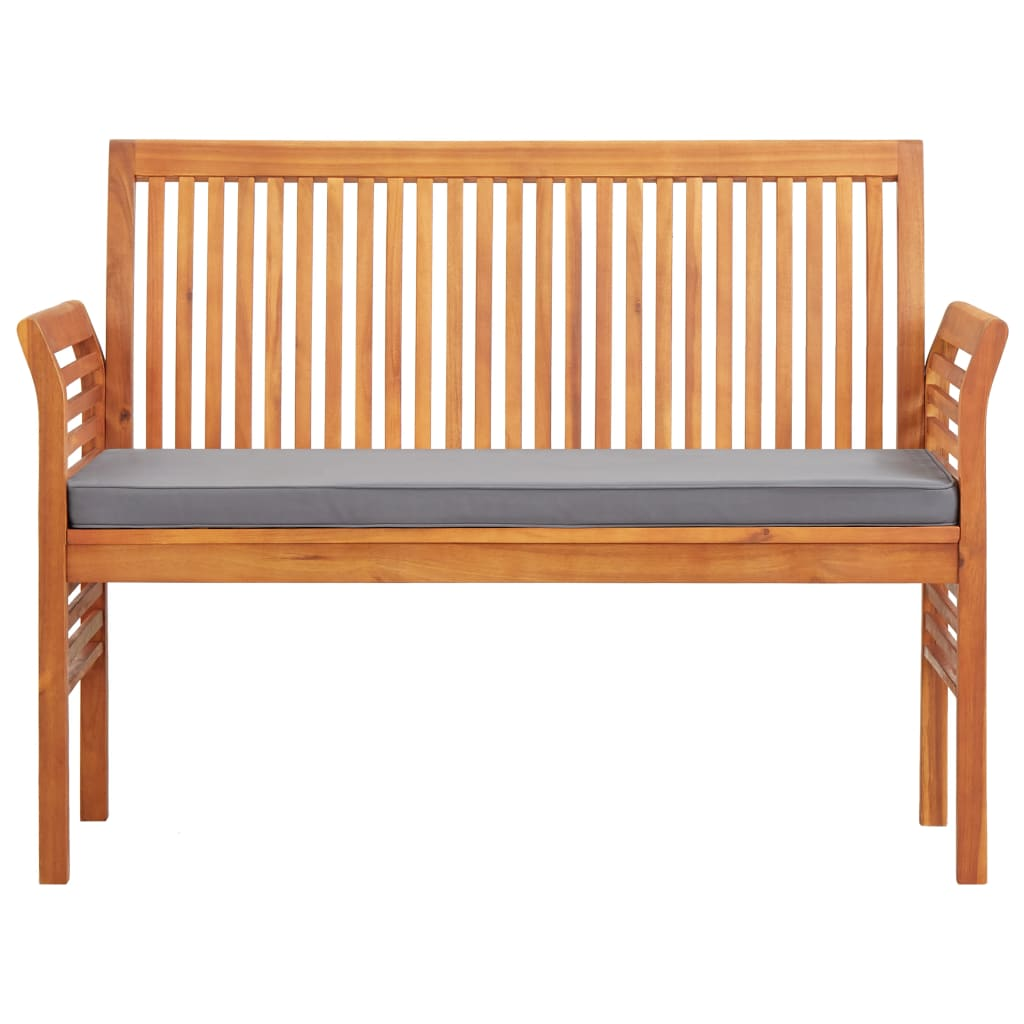 2-Seater Garden Bench with Cushion 120 cm Solid Acacia Wood 2
