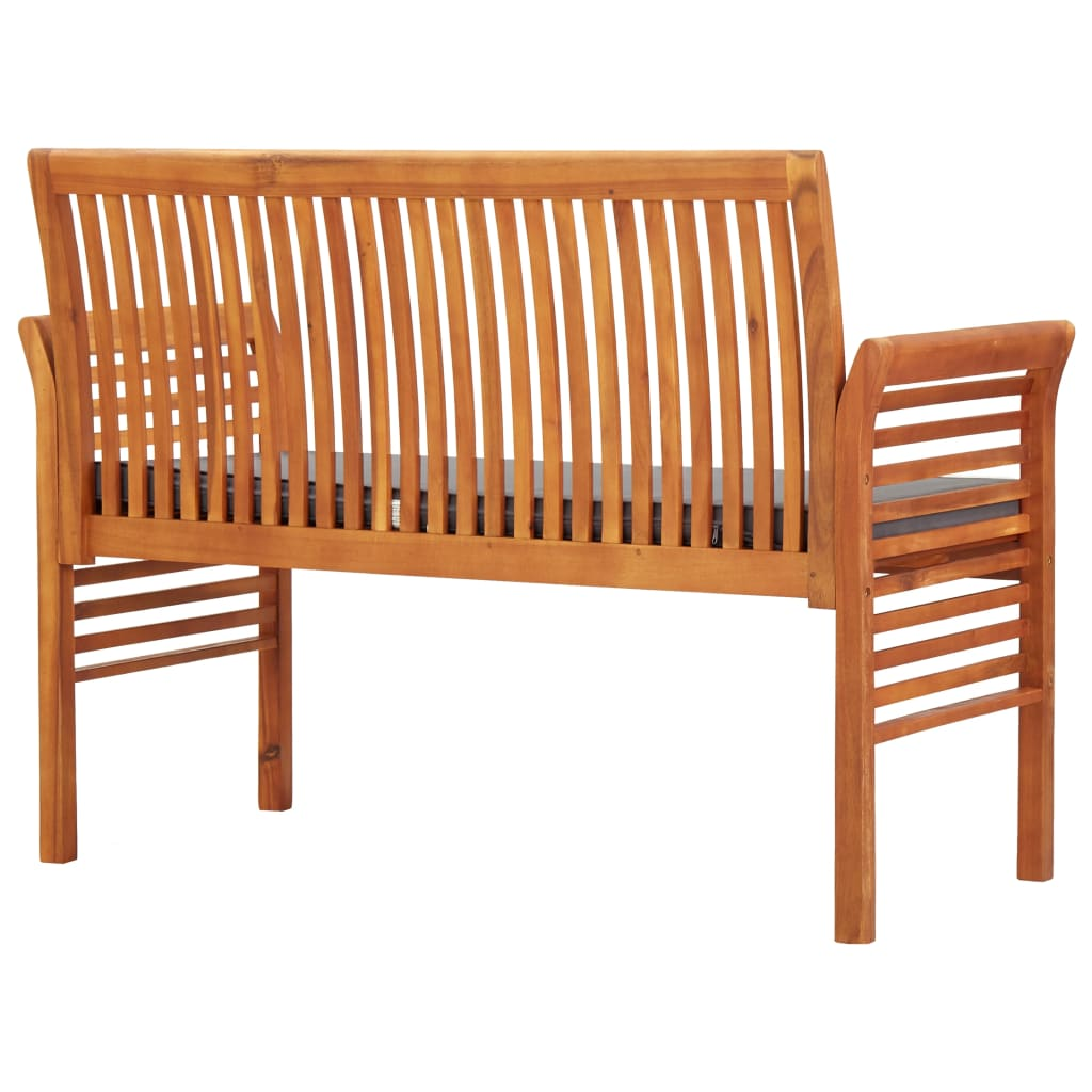2-Seater Garden Bench with Cushion 120 cm Solid Acacia Wood 4