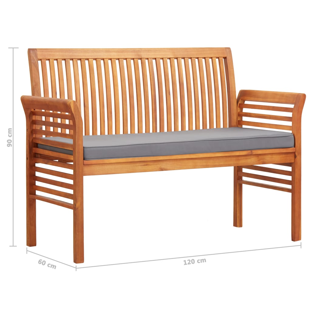 2-Seater Garden Bench with Cushion 120 cm Solid Acacia Wood 7