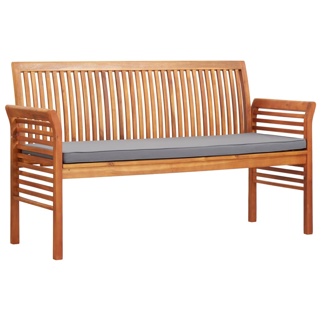 3-Seater Garden Bench with Cushion 150 cm Solid Acacia Wood 1