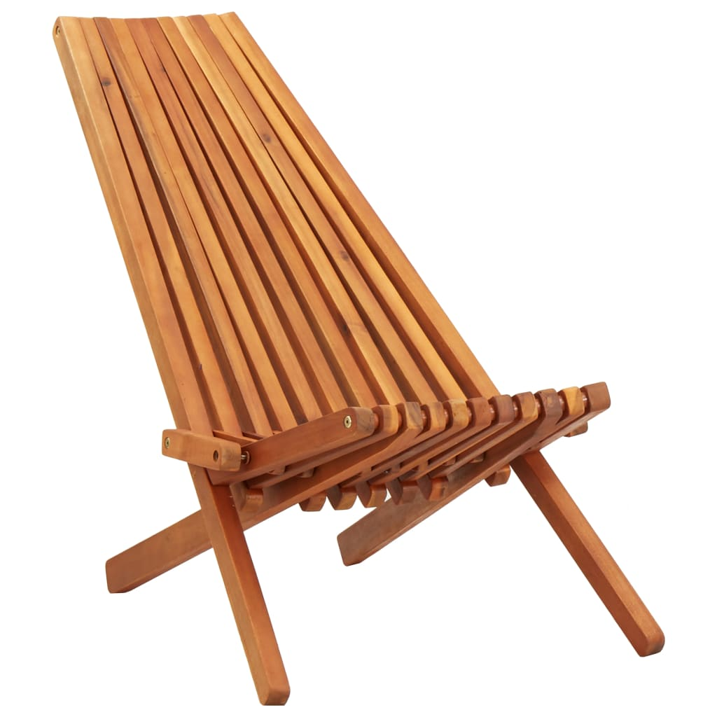 Folding Outdoor Lounge Chair Solid Acacia Wood 1