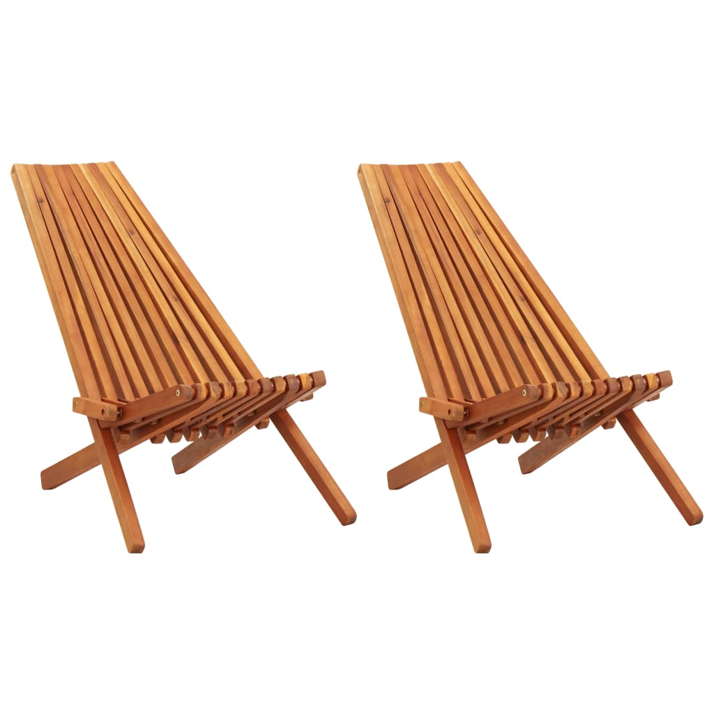 Folding Outdoor Lounge Chairs 2 pcs Solid Acacia Wood 1
