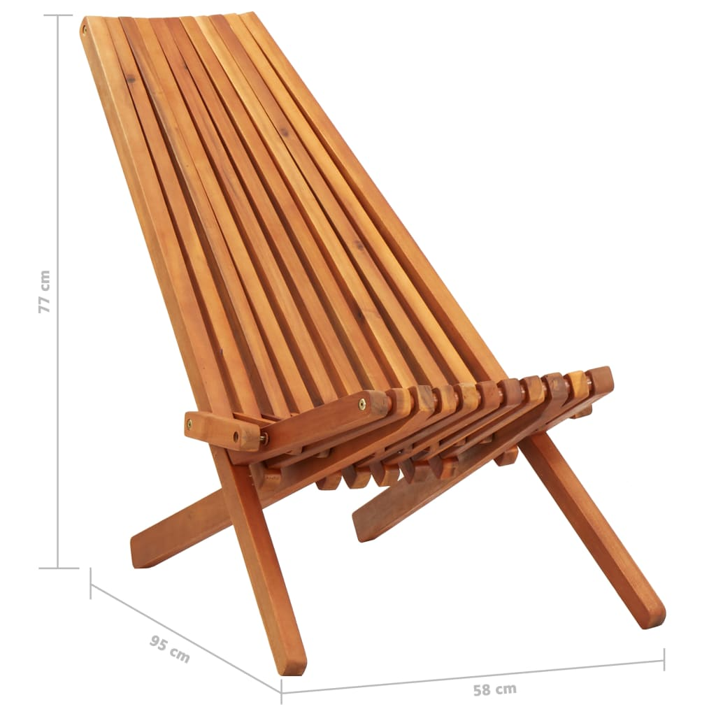 Folding Outdoor Lounge Chairs 2 pcs Solid Acacia Wood 9