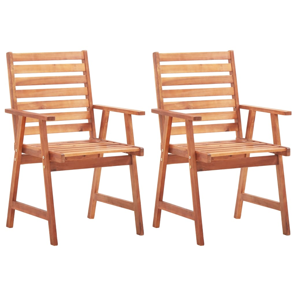 Outdoor Dining Chairs 2 pcs Solid Acacia Wood 1