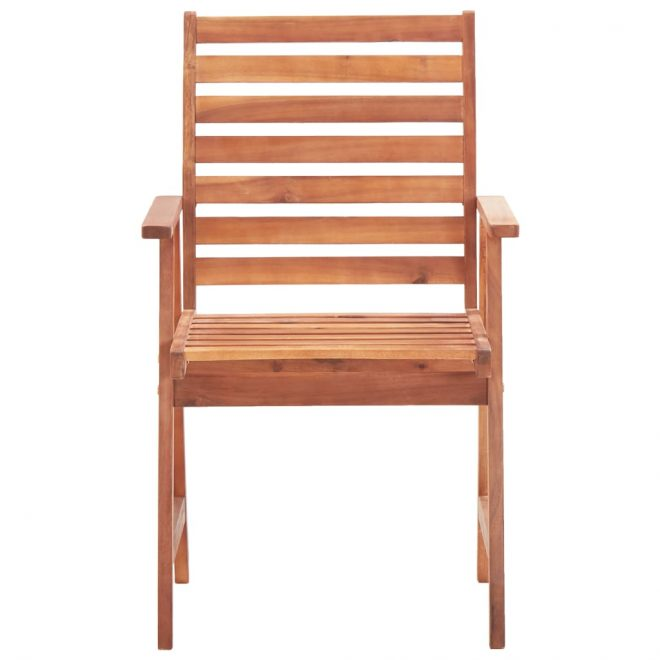 Outdoor Dining Chairs 2 pcs Solid Acacia Wood 3