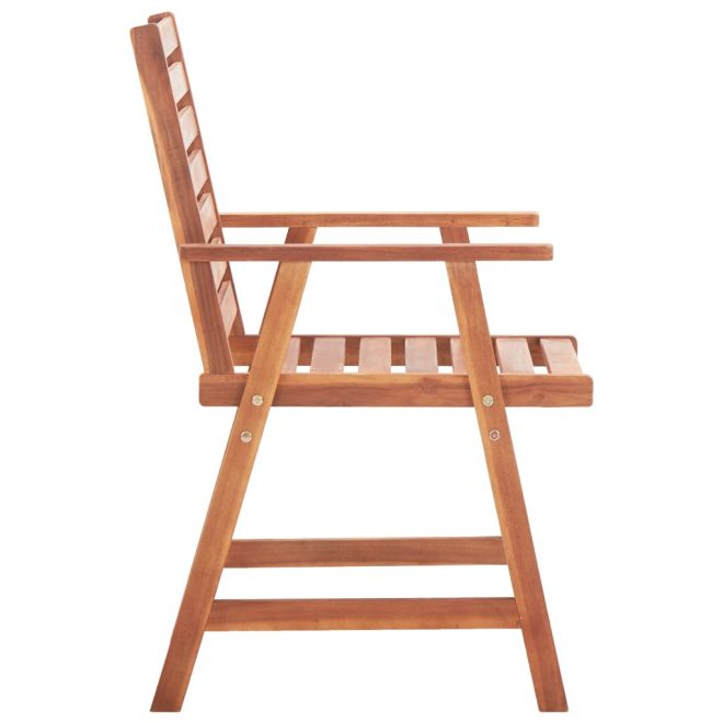 Outdoor Dining Chairs 2 pcs Solid Acacia Wood 4