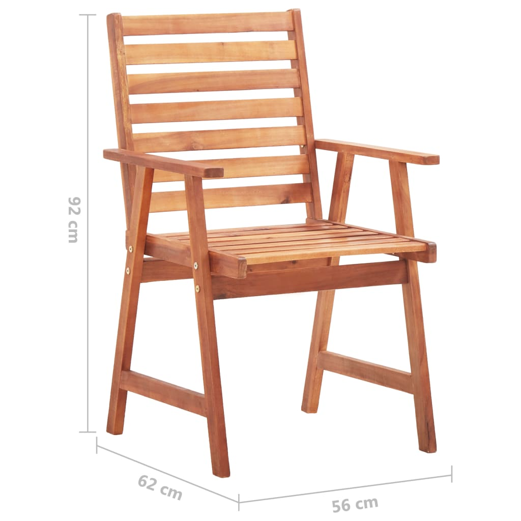 Outdoor Dining Chairs 2 pcs Solid Acacia Wood 8