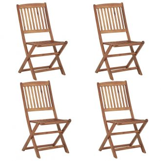 Folding Outdoor Chairs 4 pcs Solid Acacia Wood 1