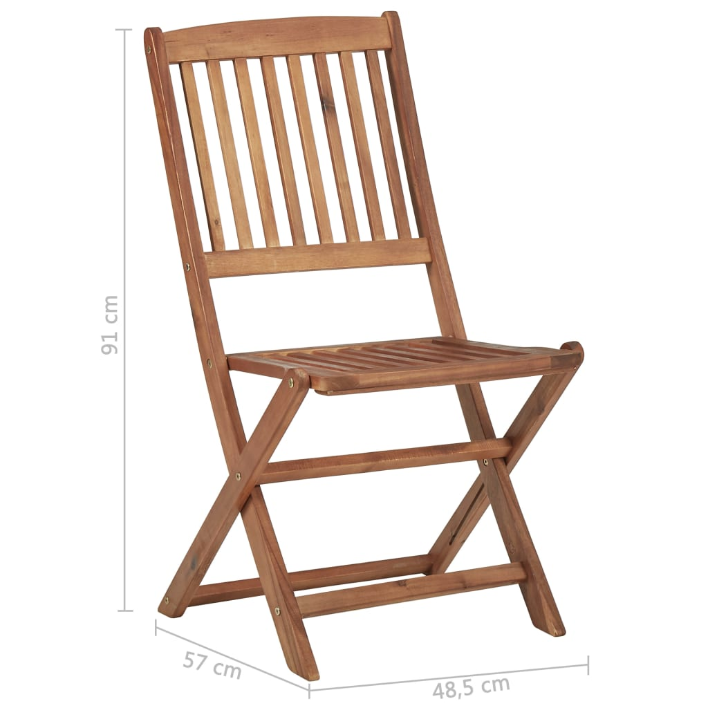 Folding Outdoor Chairs 4 pcs Solid Acacia Wood 7