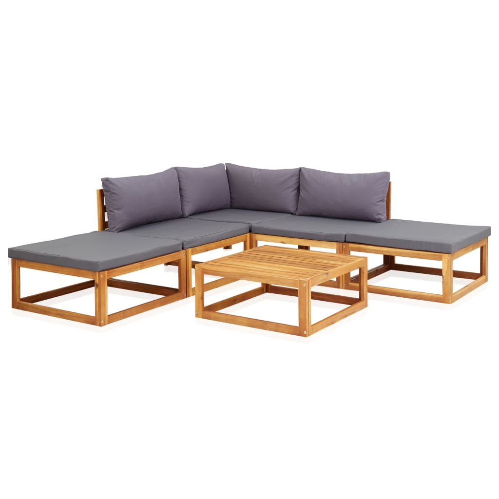 6 Piece Garden Lounge Set with Cushions Solid Acacia Wood 1