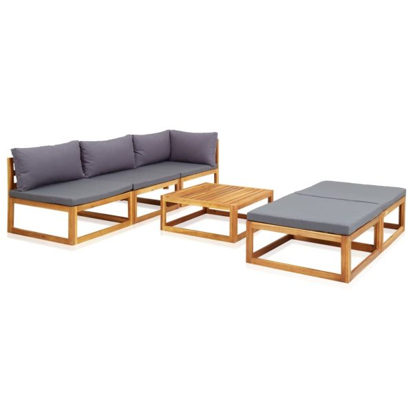 6 Piece Garden Lounge Set with Cushions Solid Acacia Wood 2