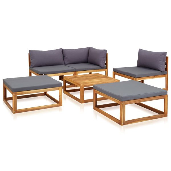 6 Piece Garden Lounge Set with Cushions Solid Acacia Wood 3