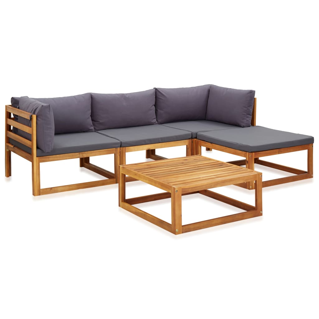 5 Piece Garden Lounge Set with Cushions Solid Acacia Wood