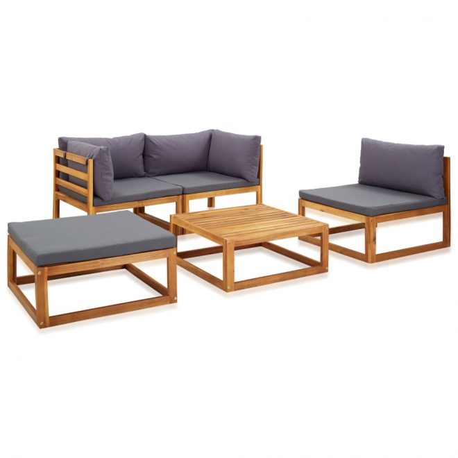 5 Piece Garden Lounge Set with Cushions Solid Acacia Wood 3