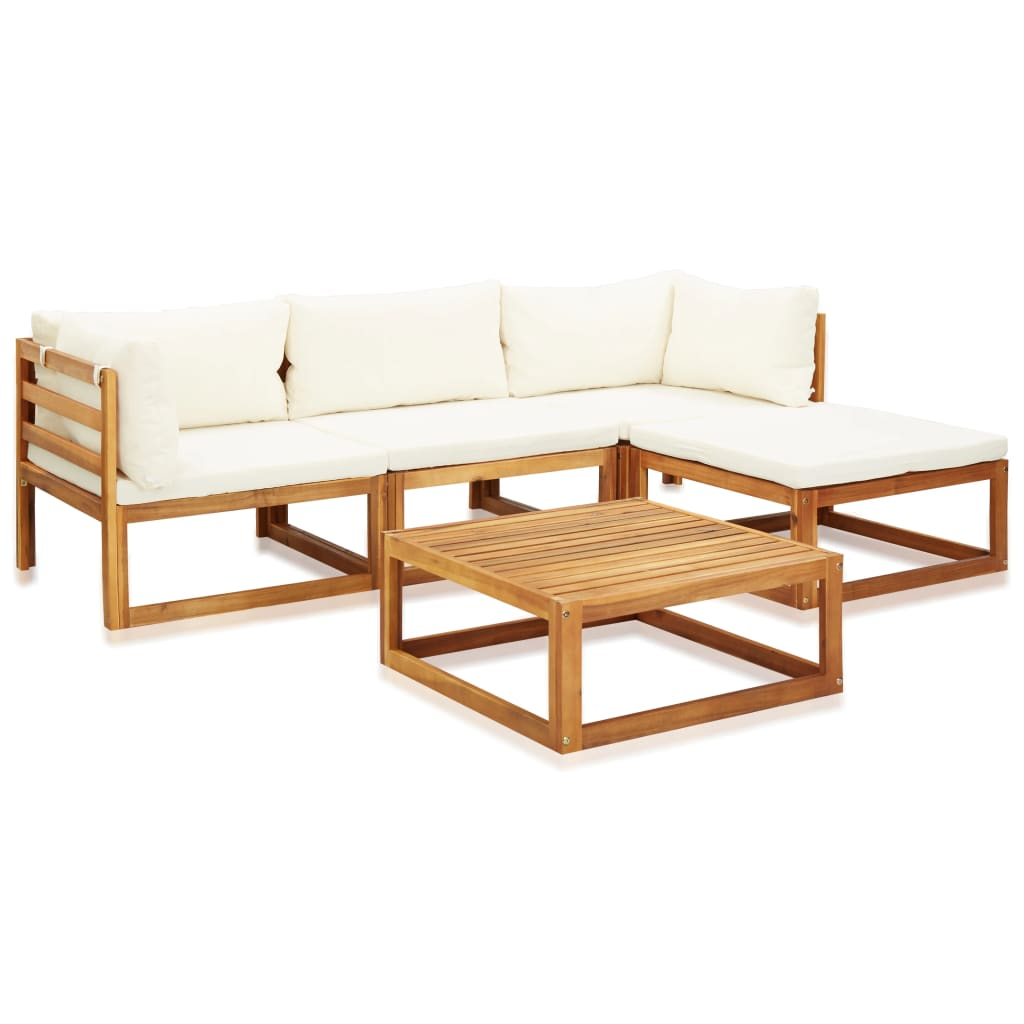 5 Piece Garden Lounge Set with Cushions Solid Acacia Wood 1