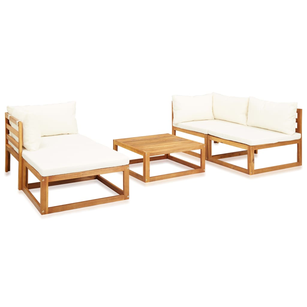 5 Piece Garden Lounge Set with Cushions Solid Acacia Wood 2