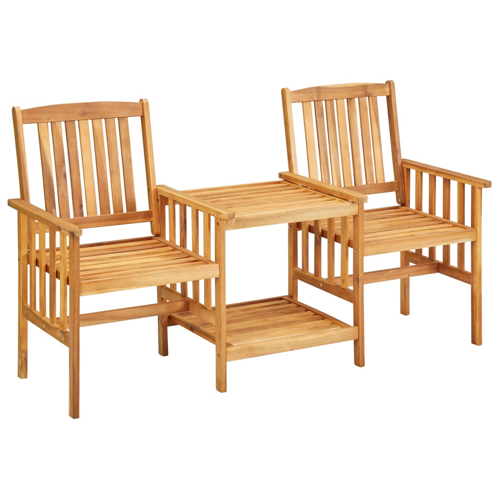 Garden Chairs with Tea Table 159x61x92 cm Solid Acacia Wood 1