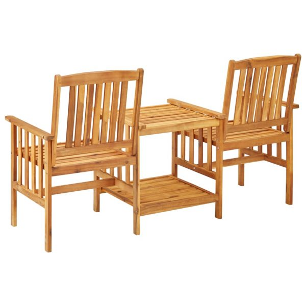 Garden Chairs with Tea Table 159x61x92 cm Solid Acacia Wood 4