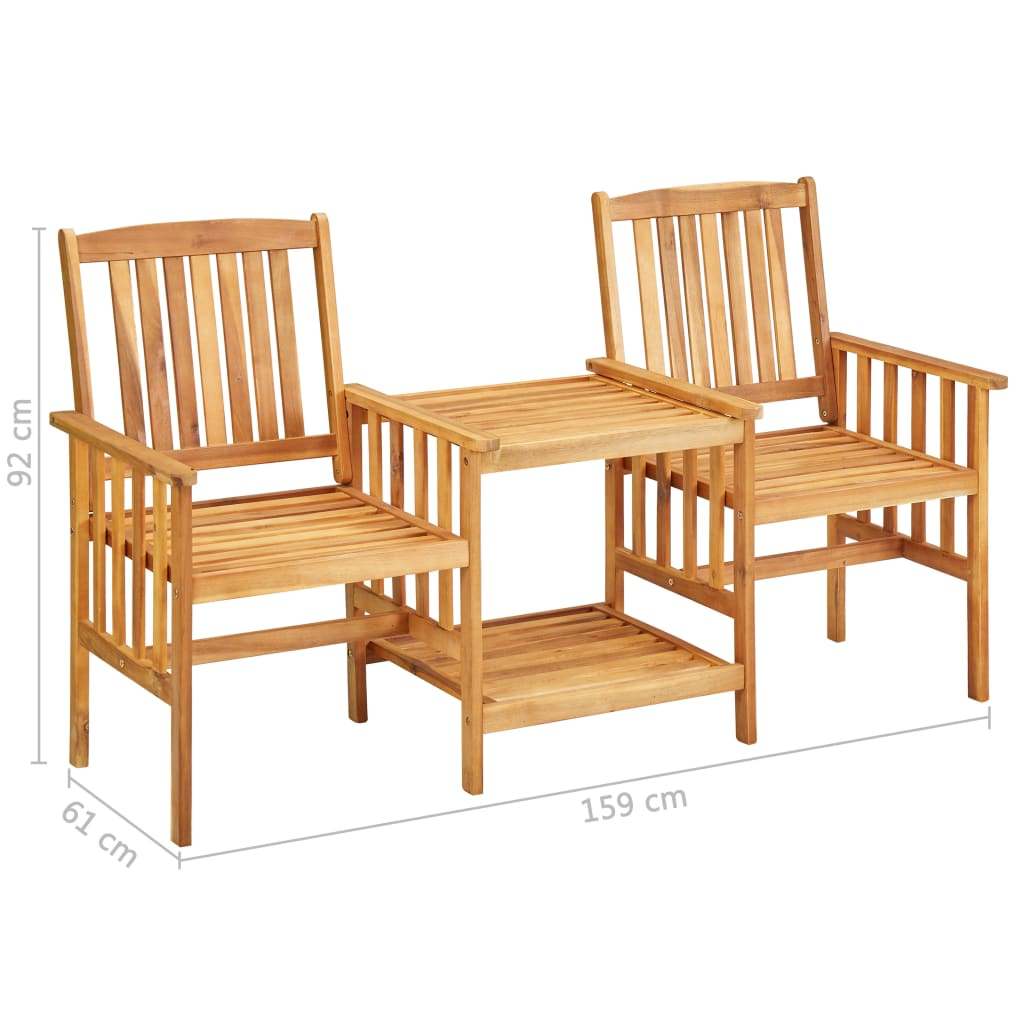 Garden Chairs with Tea Table 159x61x92 cm Solid Acacia Wood 7