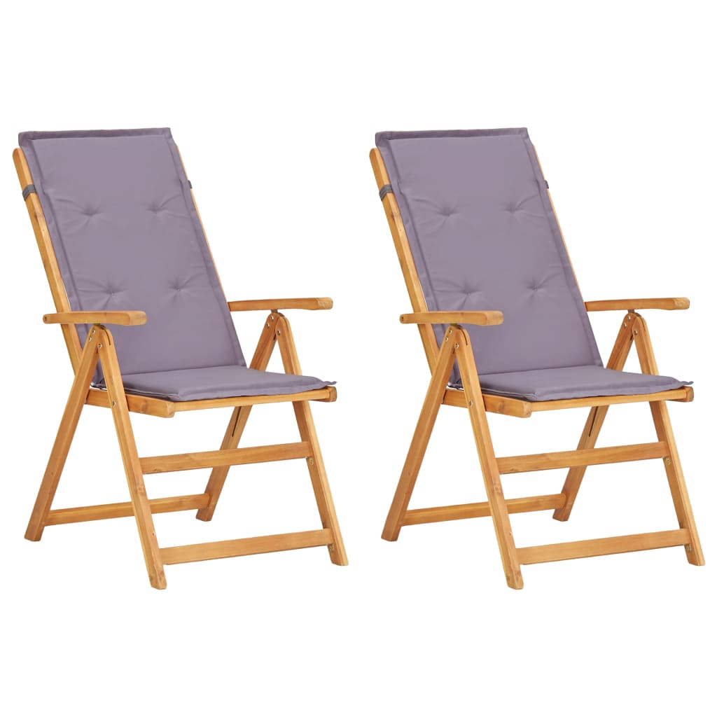 Reclining Garden Chairs 2 pcs Brown Solid Acacia Wood 1
