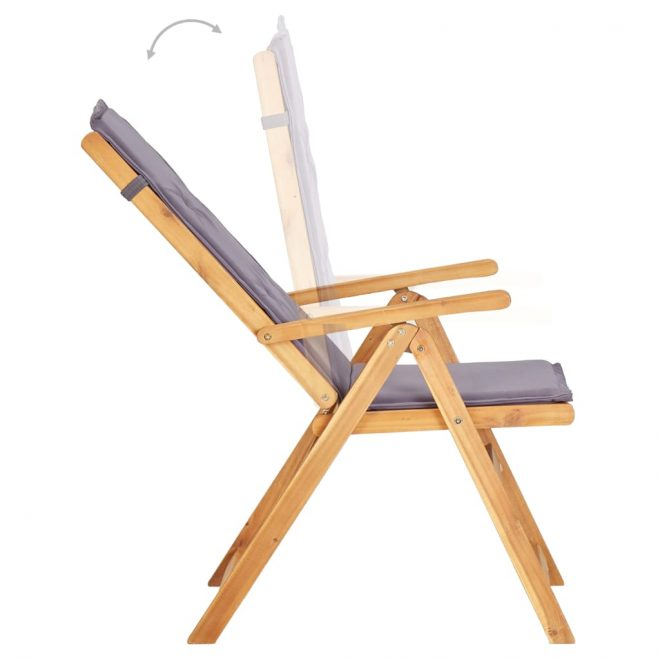Reclining Garden Chairs 2 pcs Brown Solid Acacia Wood 3