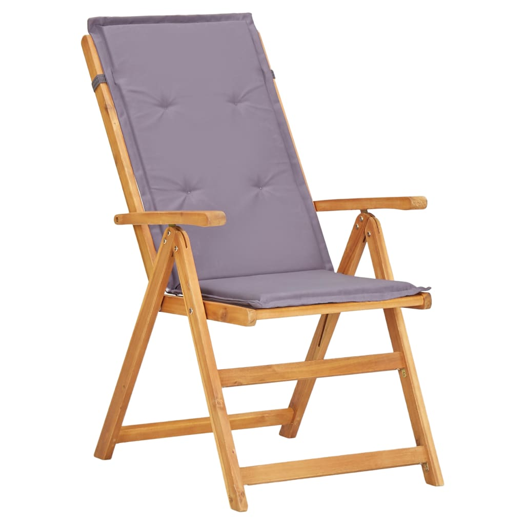 Reclining Garden Chairs 2 pcs Brown Solid Acacia Wood 4