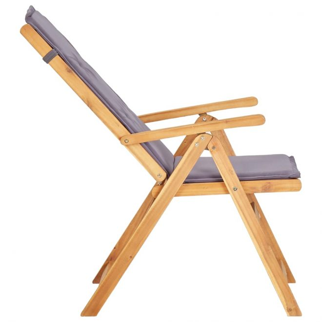 Reclining Garden Chairs 2 pcs Brown Solid Acacia Wood 5