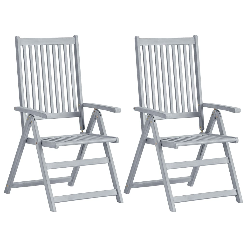 Garden Reclining Chairs 2 pcs Grey Solid Acacia Wood