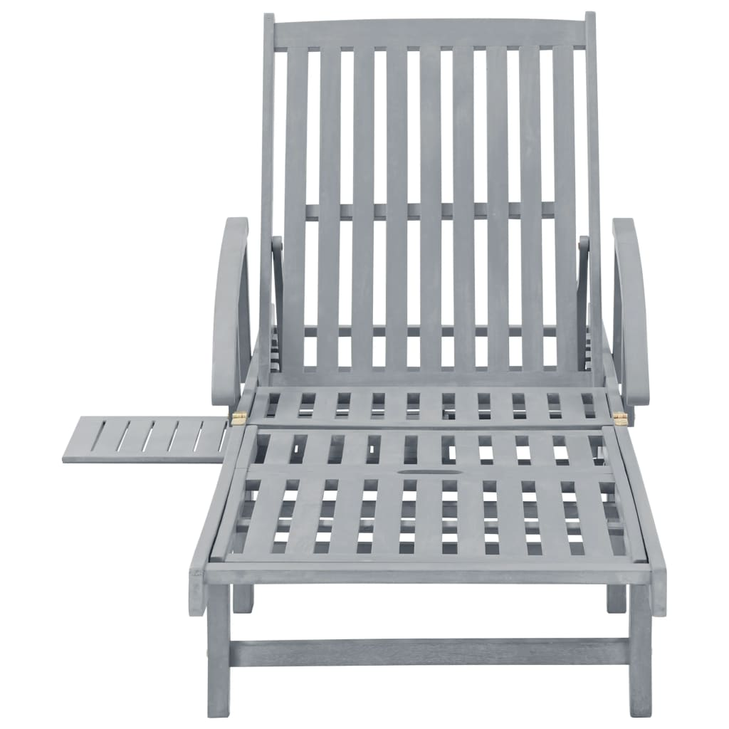 Garden Sun Lounger Grey Solid Acacia Wood 2