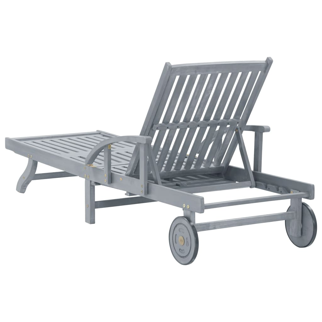 Garden Sun Lounger Grey Solid Acacia Wood 4
