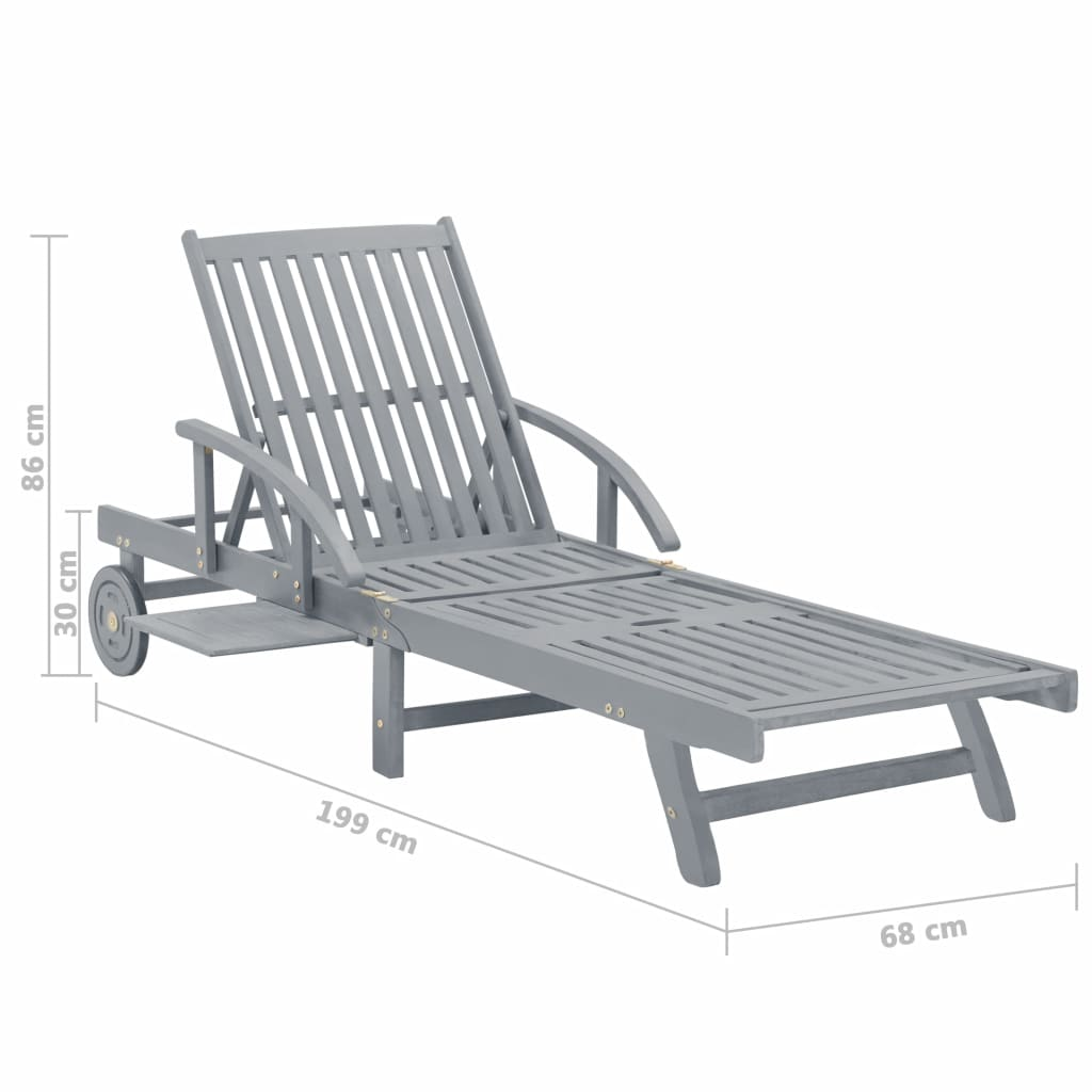Garden Sun Lounger Grey Solid Acacia Wood 8