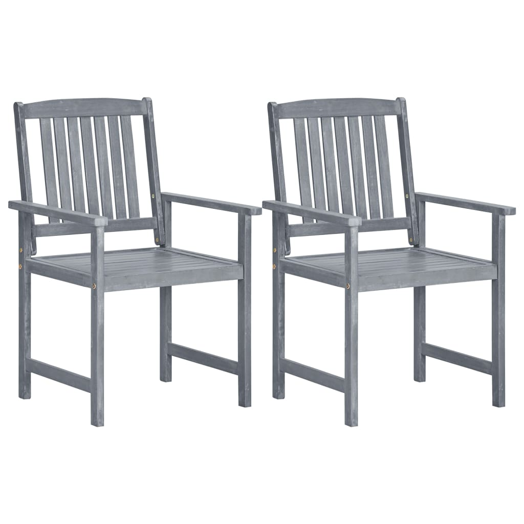 Garden Chairs 2 pcs Grey Solid Acacia Wood