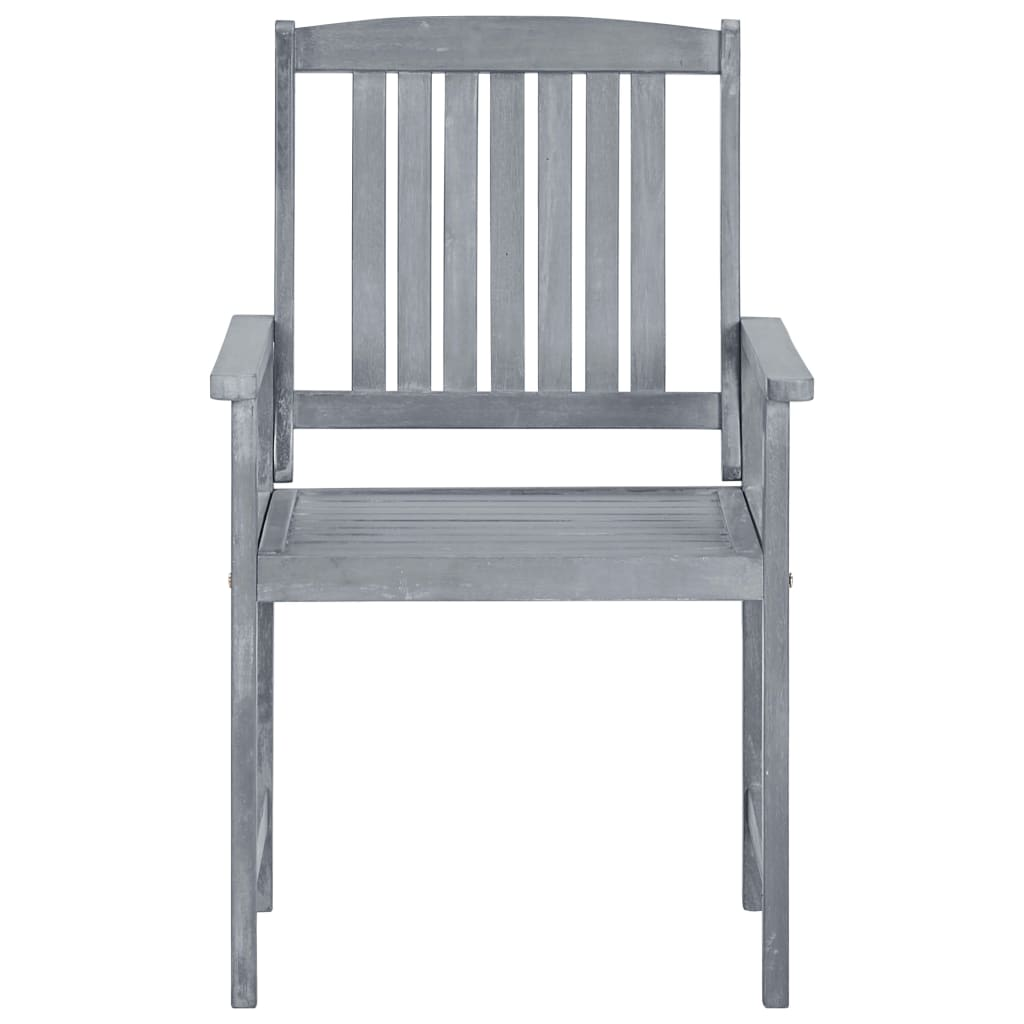 Garden Chairs 2 pcs Grey Solid Acacia Wood 3