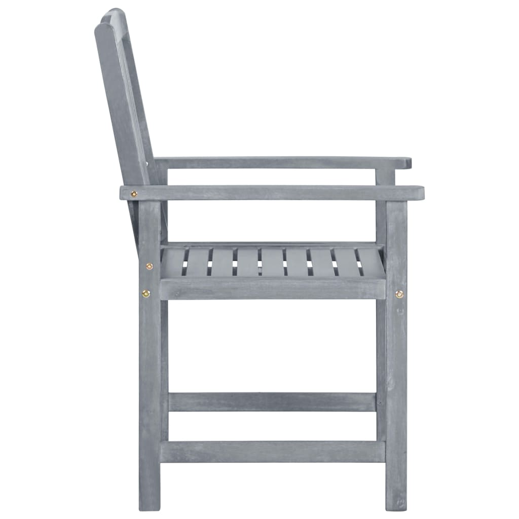 Garden Chairs 2 pcs Grey Solid Acacia Wood 4