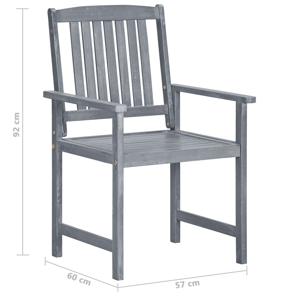 Garden Chairs 2 pcs Grey Solid Acacia Wood 8